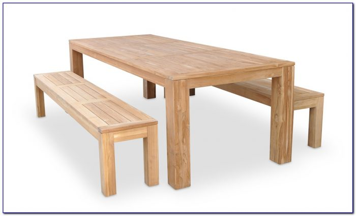 Wooden Dining Table With Bench Seats