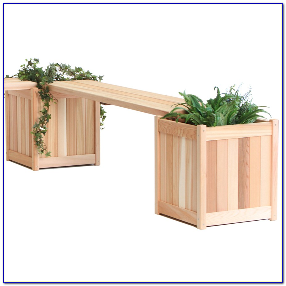 Wooden Garden Bench With Planters