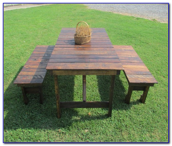 Wooden Picnic Table And Bench Set
