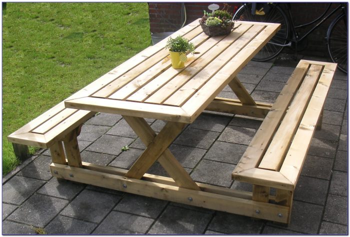 Wooden Picnic Table And Benches