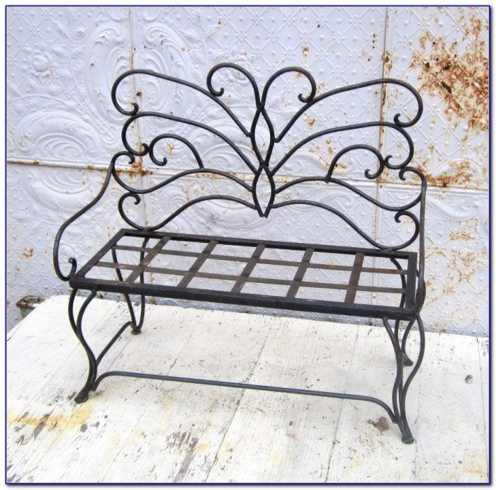Wrought Iron Butterfly Bench