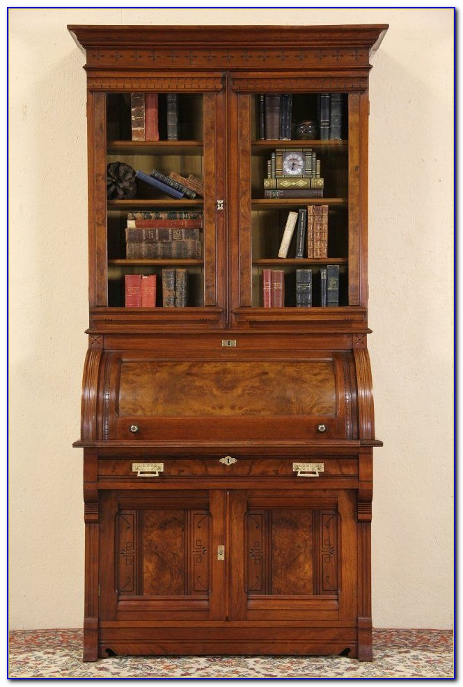 Antique Drop Front Secretary Desk With Bookcase