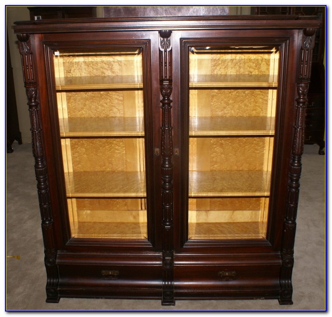 Antique Mahogany Bookcase Glass Doors