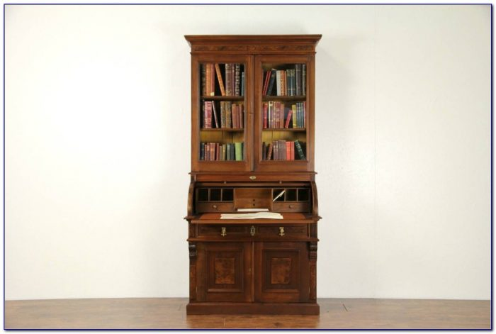 Antique Oak Secretary Desk With Bookcase