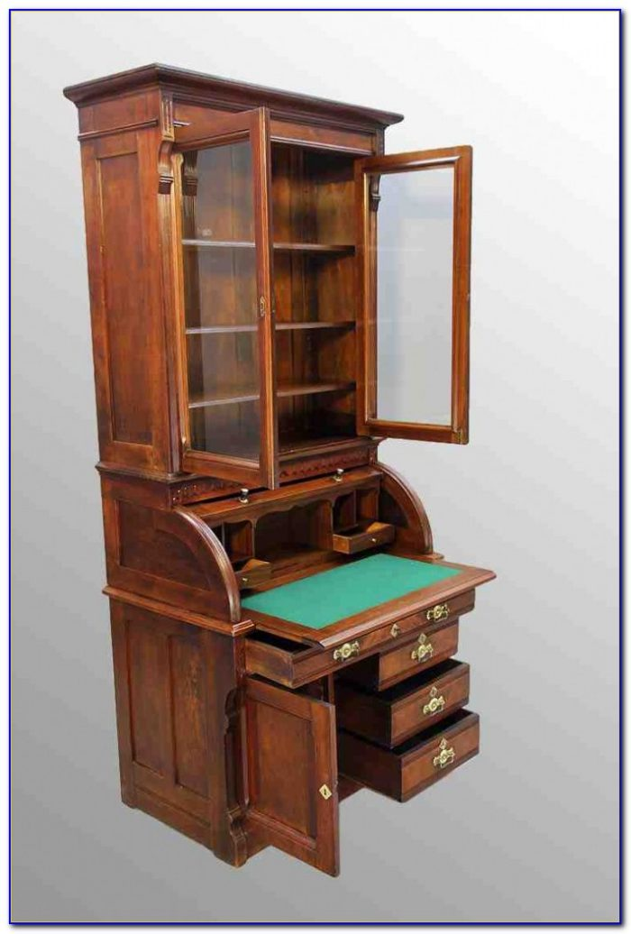 Antique Secretary Desk With Bookcase