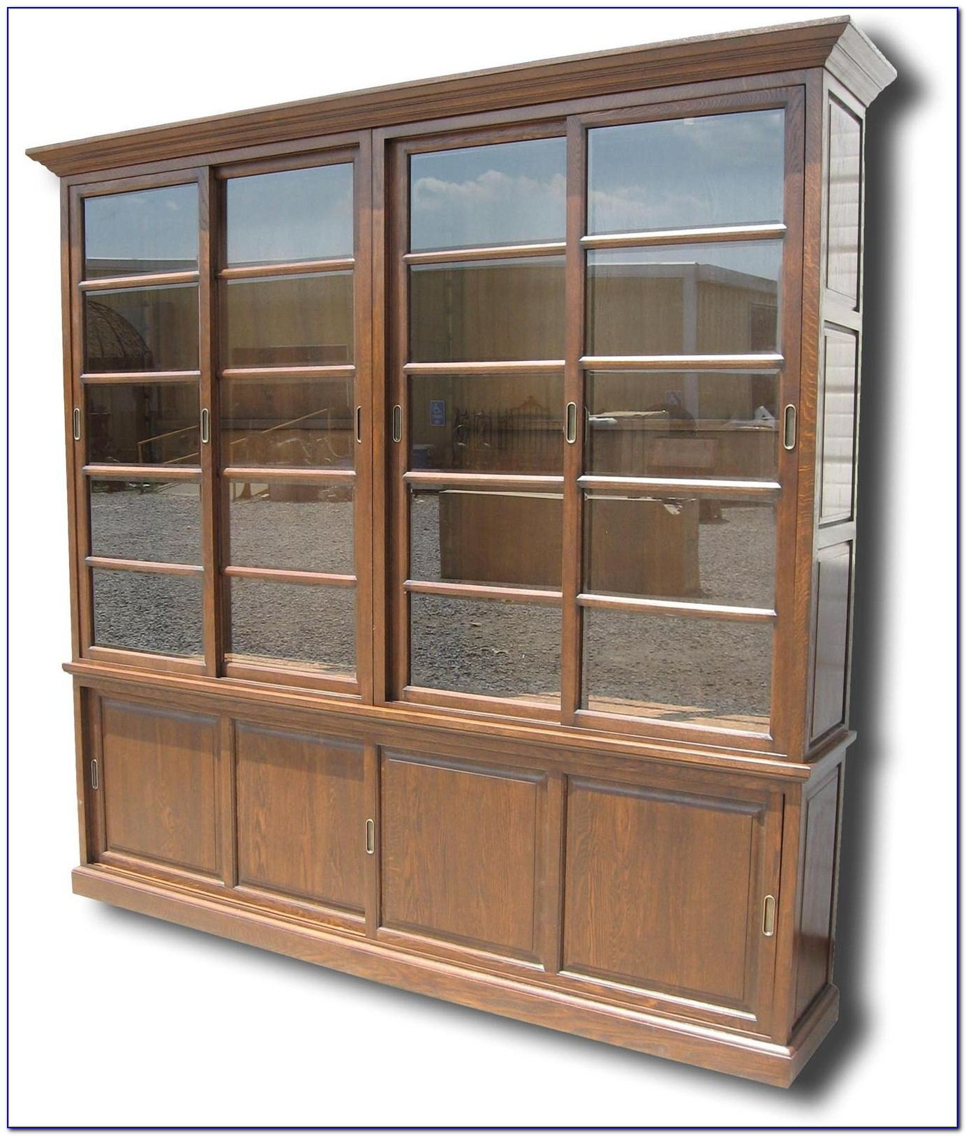 Antique Sliding Glass Door Bookcase