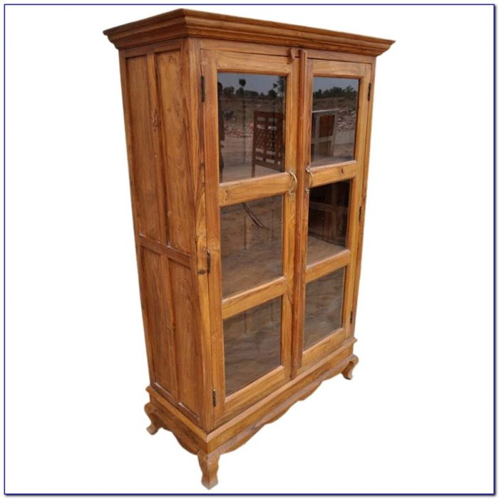 Antique Solid Wood Bookcase With Glass Doors