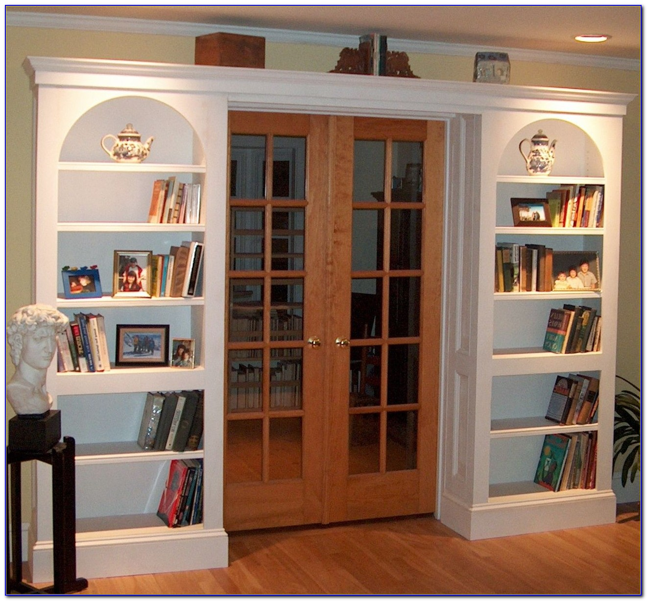 Arched Built In Bookcase