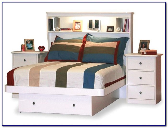 Bed With Bookcase Headboard And Drawers