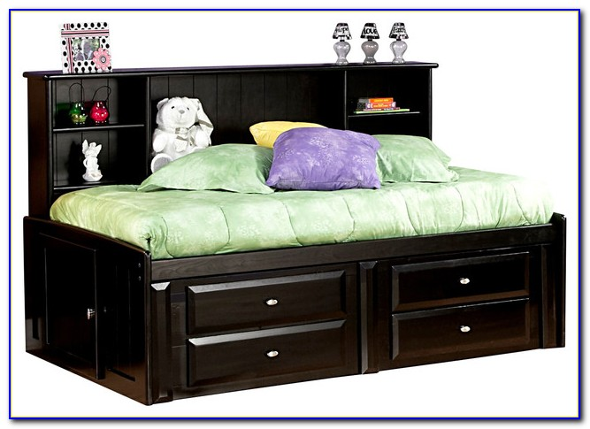 Black Twin Storage Bed With Bookcase Headboard