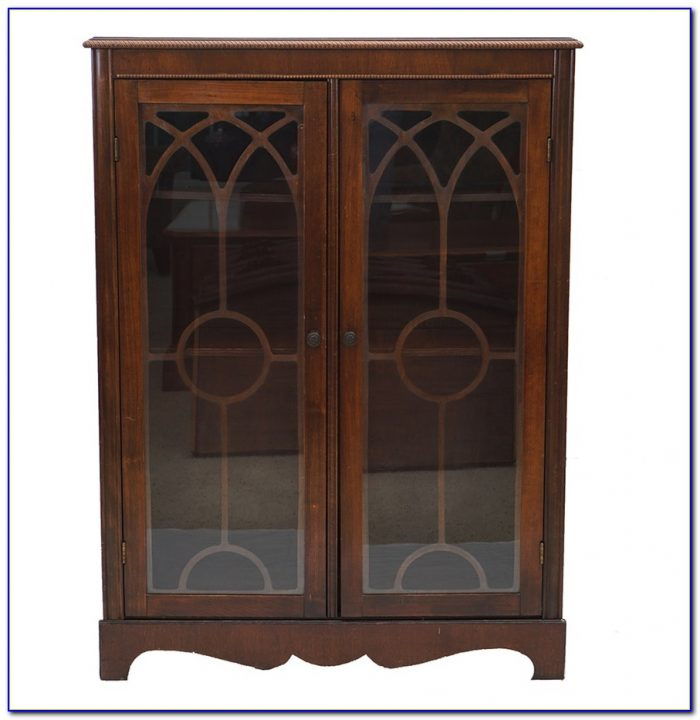 Black Wood Bookcase With Glass Doors