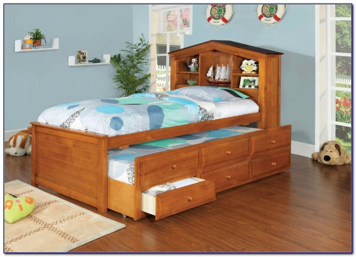 Bookcase Captains Bed Queen
