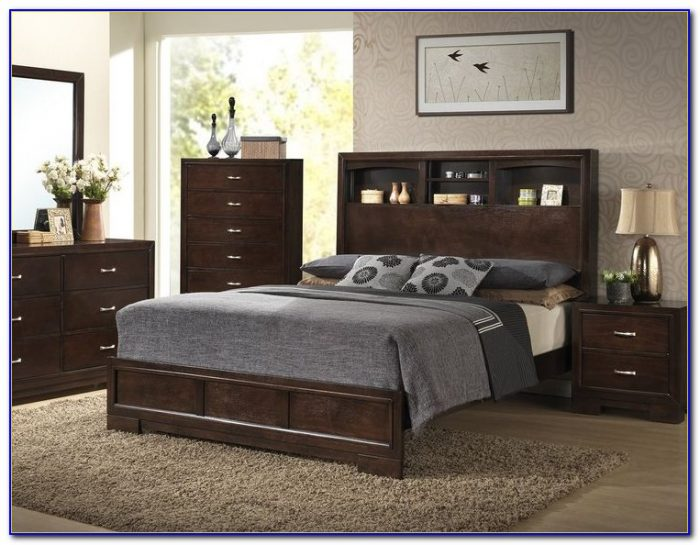 Bookcase Headboard Queen Platform Bed