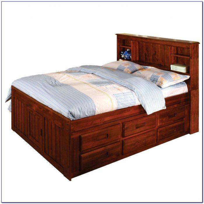 Bookcase Headboard Queen Storage Bed