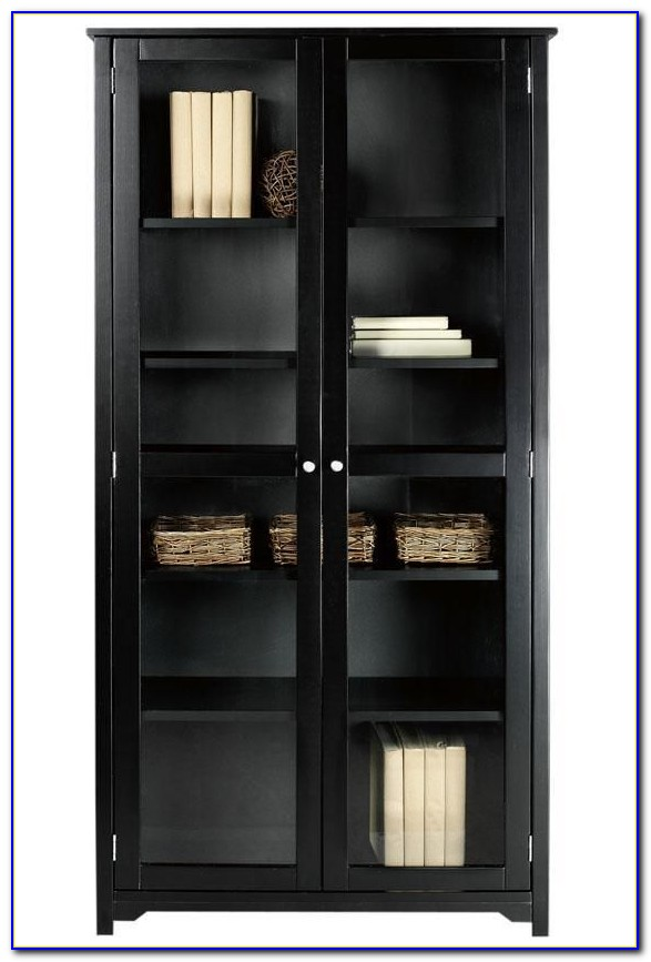 Bookcase With Glass Doors Black