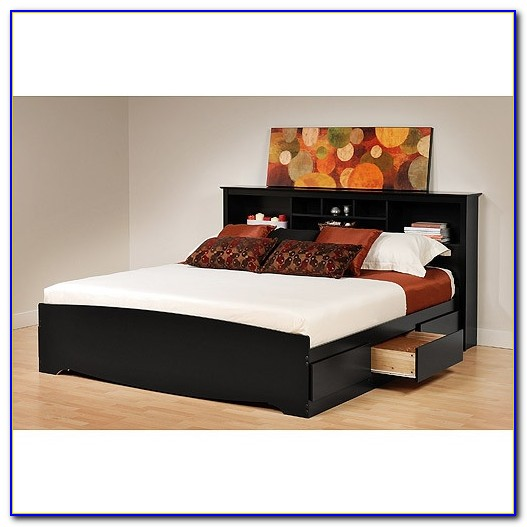 Briana Black Bookcase King Bed