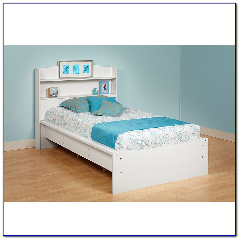 California King Platform Bed With Bookcase Headboard