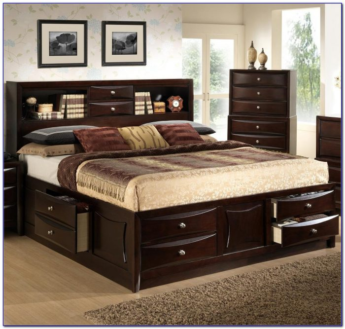 California King Size Bookcase Headboard