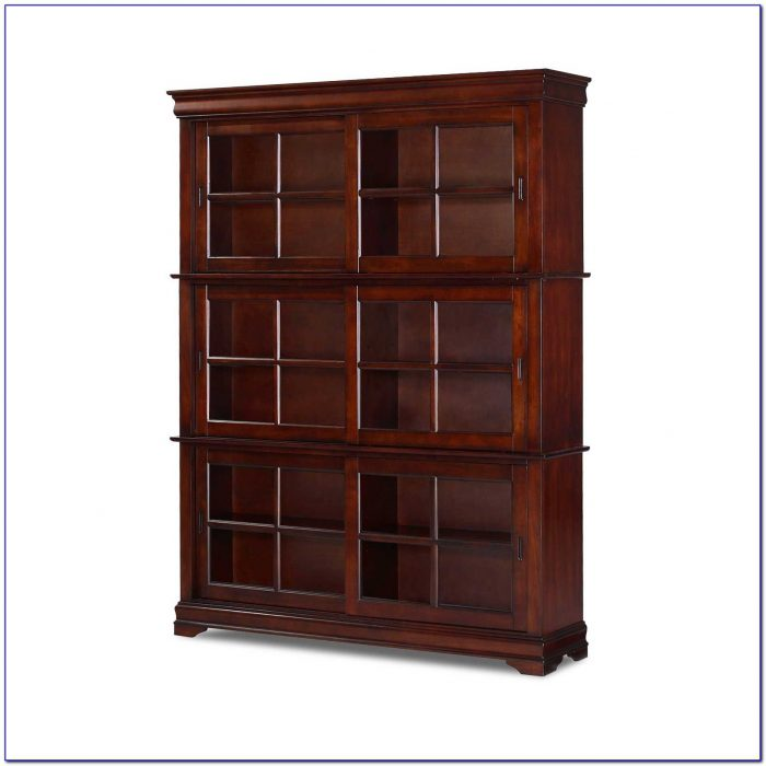 Cherry Finish Bookcase With Doors