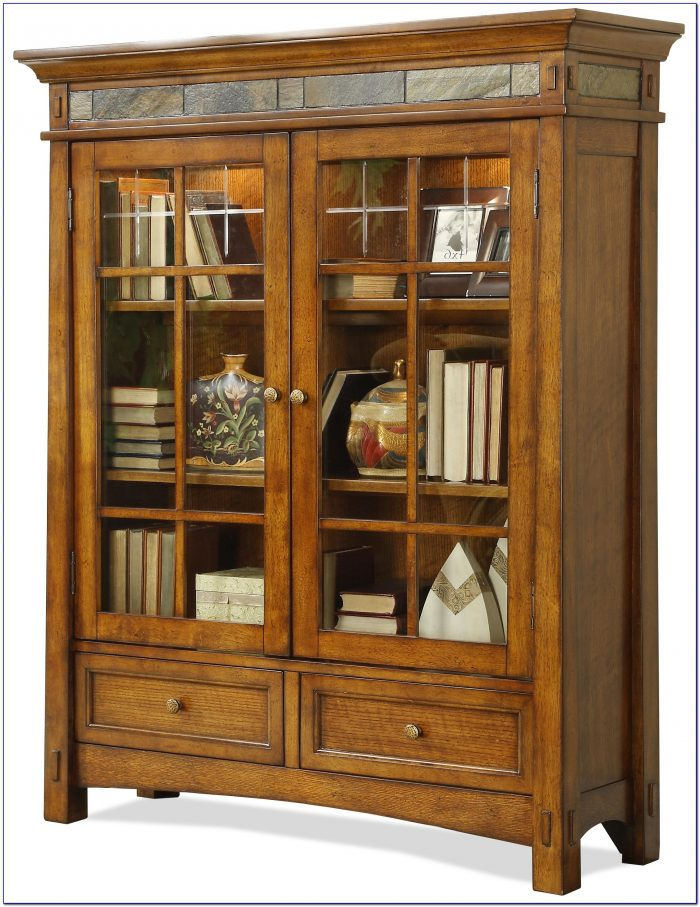 Cherry Wood Bookcase With Glass Doors