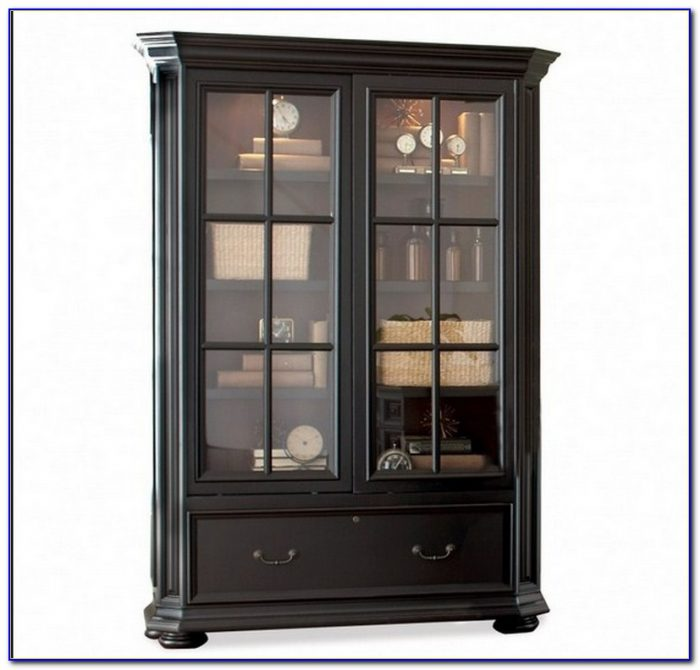 Cherry Wood Bookcases Glass Doors
