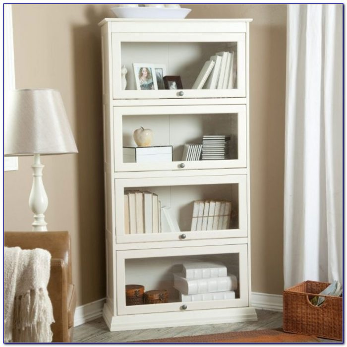 Contemporary White Corner Bookcase