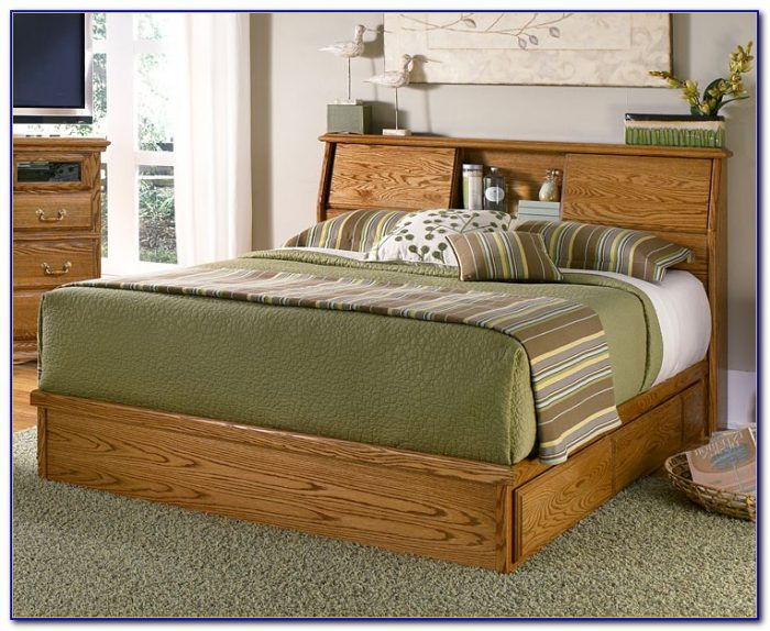 King Size Bed Frame With Bookcase Headboard
