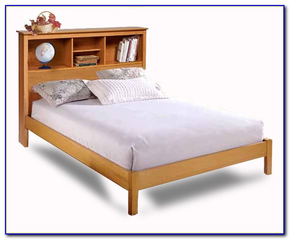 King Size Platform Bed With Bookcase Headboard