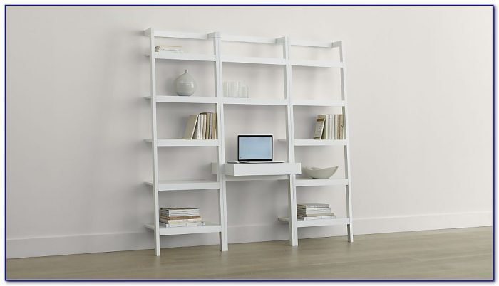Leaning Bookcase Desk White