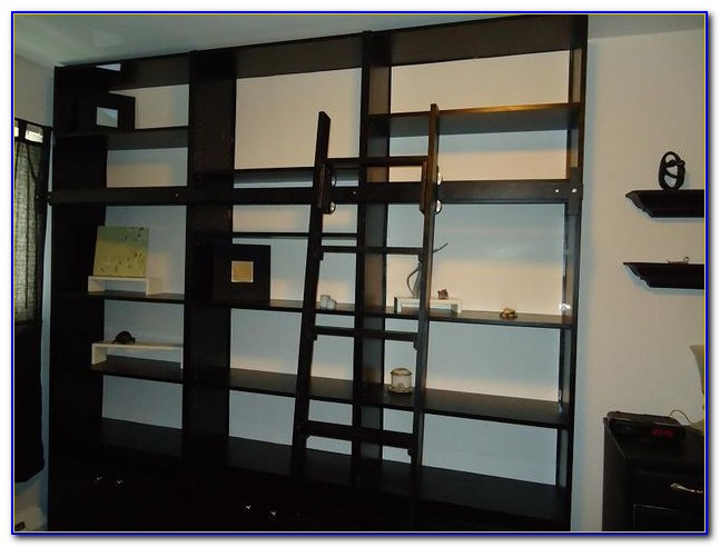 Library Bookcase Rolling Ladder