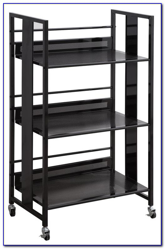 Metal Bookcase On Casters