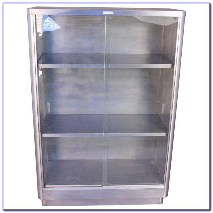 Metal Bookshelf With Glass Doors