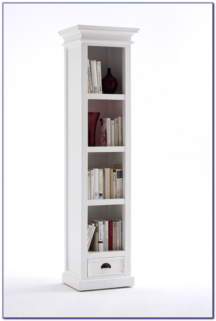 Narrow White Bookcase With Drawers