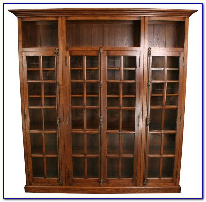 Oak Bookcase With Sliding Glass Doors