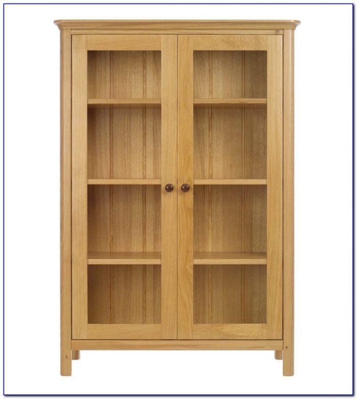 Oak Bookshelf With Glass Doors