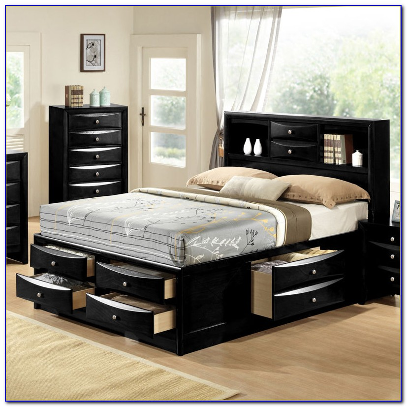 Queen Platform Storage Bed Bookcase Headboard