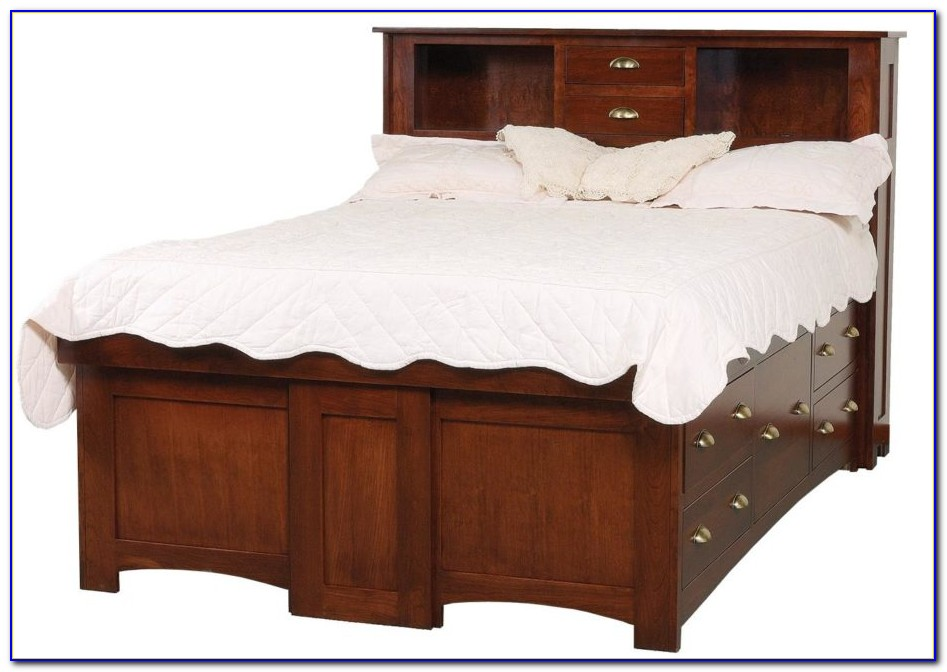 Queen Size Bookcase Headboard Bed