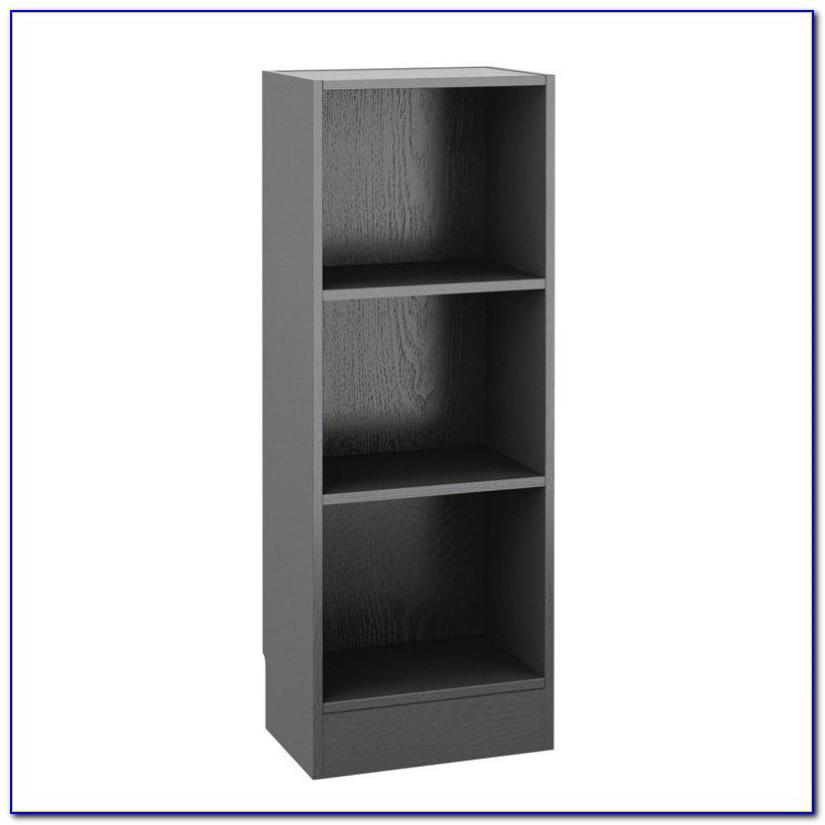 Short Narrow Black Bookcase