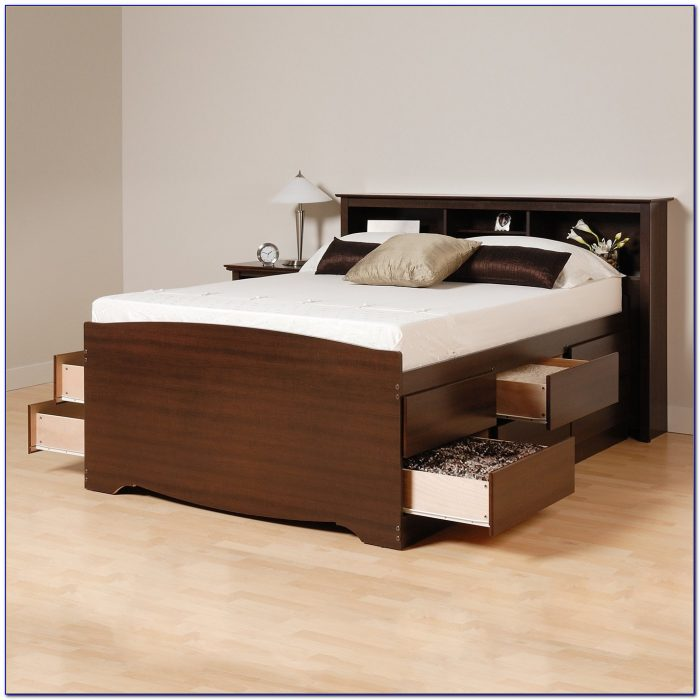 Solana Platform Bed With Bookcase Headboard