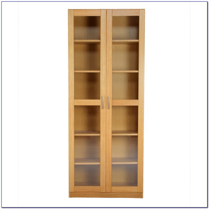 Tall Black Bookcase With Glass Doors