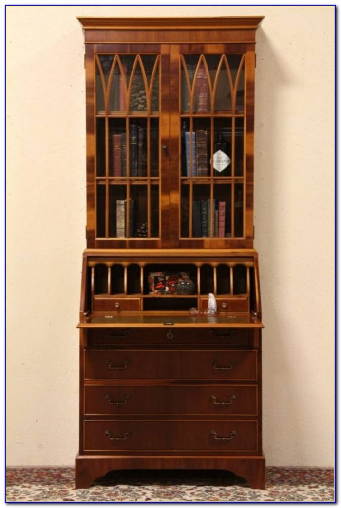 Tiger Oak Secretary Desk Bookcase Curio
