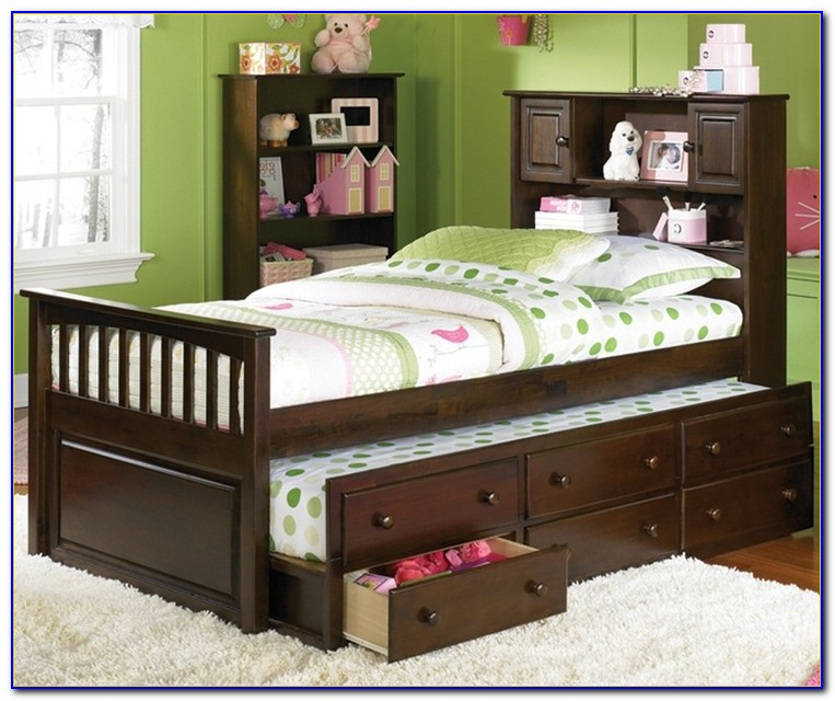 Trundle Bed With Bookshelf Headboard