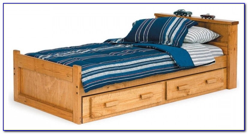 Twin Size Storage Bed Bookcase Headboard