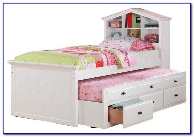 Twin Trundle Bed With Bookcase Headboard