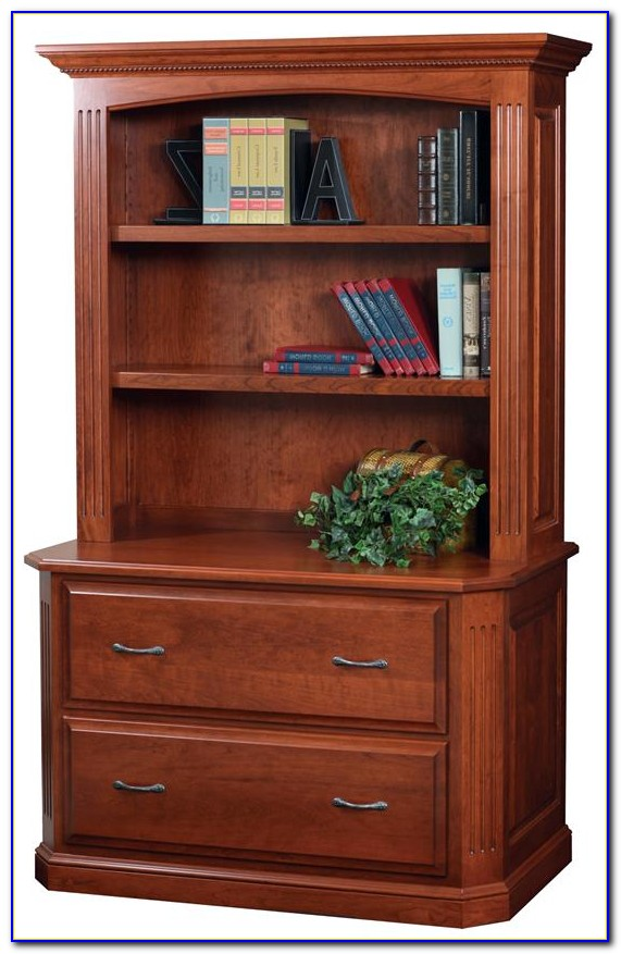 Two Drawer Lateral File With Bookcase Hutch