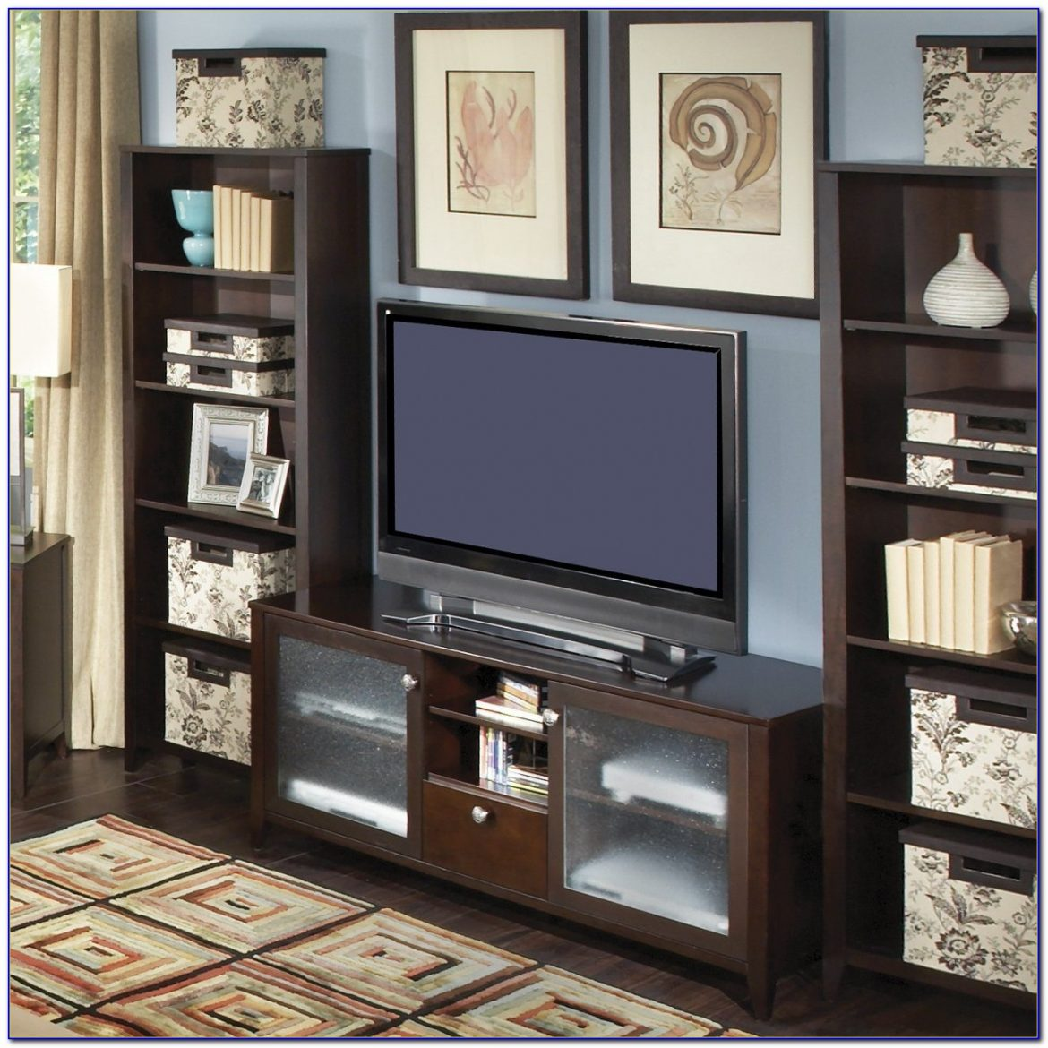 White Bookcase And Tv Stand