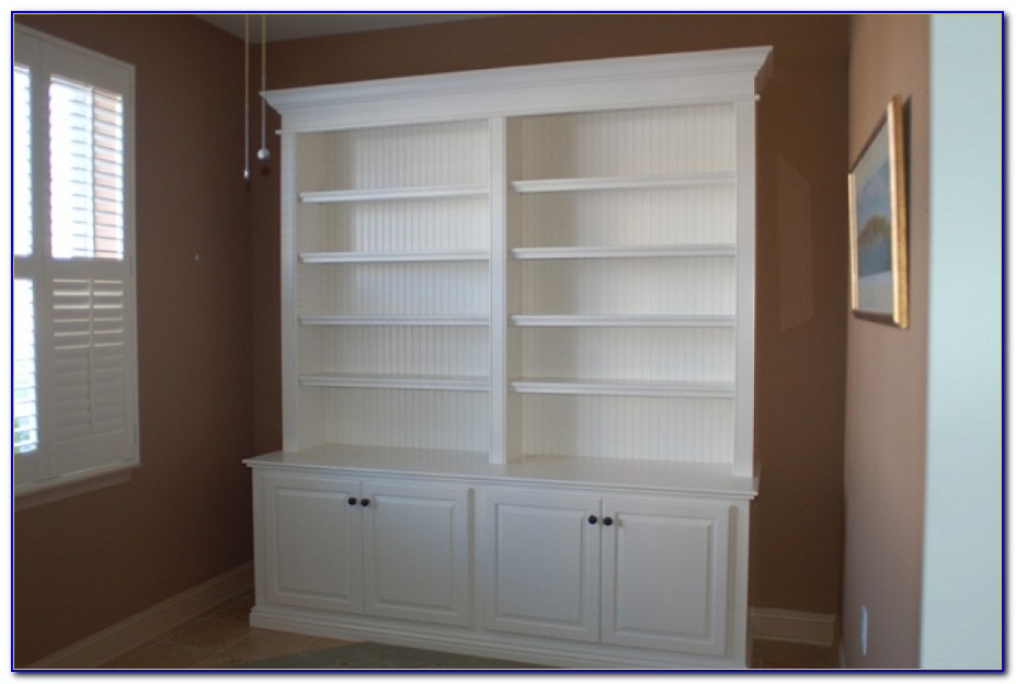 White Bookcase Wall Units