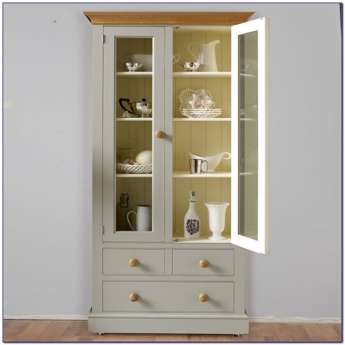 White Bookcase With Glass Doors And Drawers