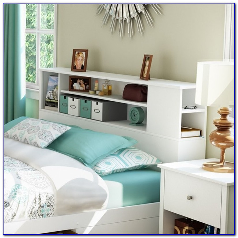 White Queen Bookcase Headboard