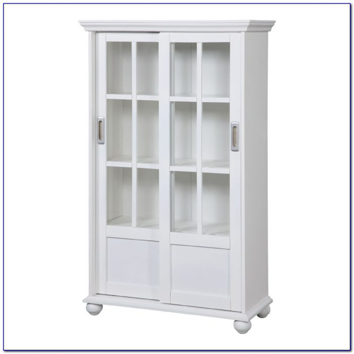 White Sliding Glass Door Bookcase